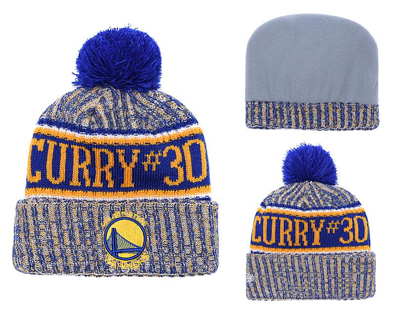 Warriors Team Logo Cuffed Knit Hat With Pom YD