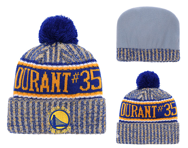 Warriors Team Logo Royal Yellow Pom Knit Hat YD