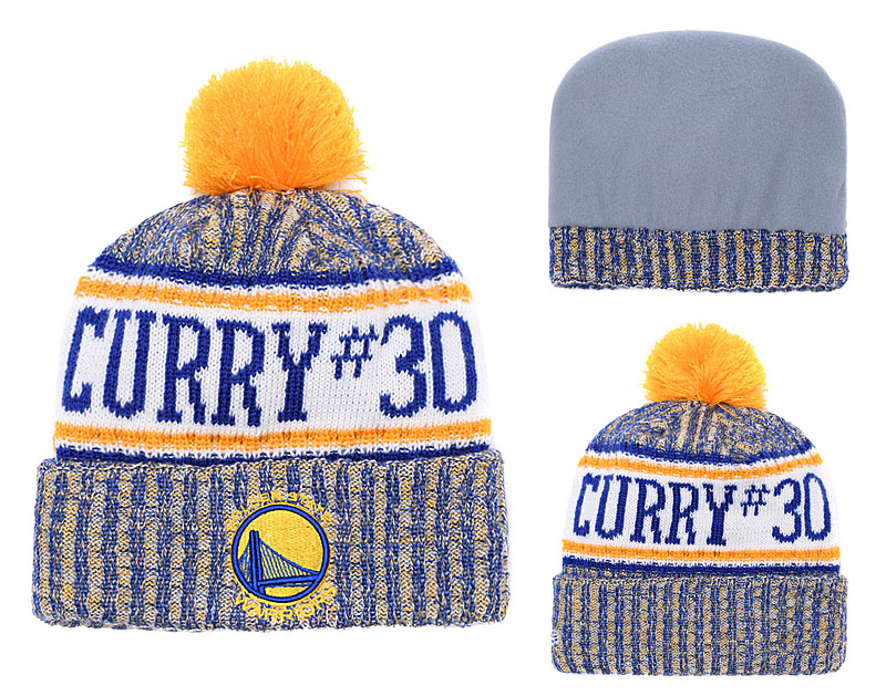 Warriors Team Logos Yellow Blue Pom Knit Hat YD