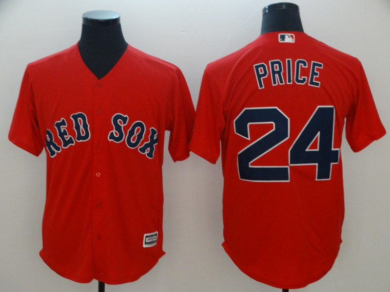 Red Sox 24 David Price Red Cool Base Jersey