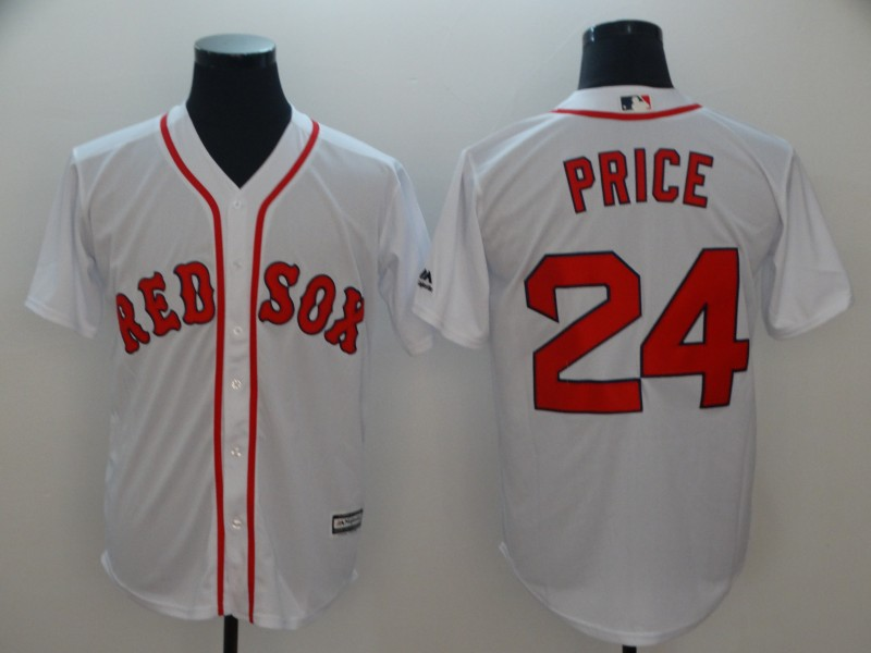 Red Sox 24 David Price White Cool Base Jersey