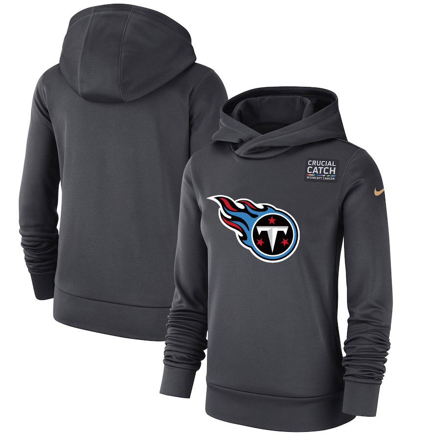 Tennessee Titans Anthracite Women's Nike Crucial Catch Performance Hoodie
