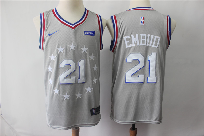 76ers 21 Joel Embiid Gray 2018-19 City Edition Nike Swingman Jersey