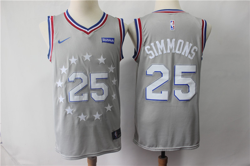 76ers 25 Ben Simmons Gray 2018-19 City Edition Nike Swingman Jersey