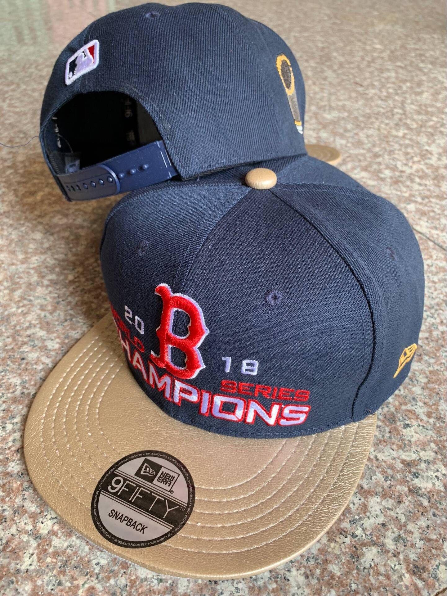 Red Sox Navy 2018 World Series Champions Golden Adjsutable Hat YD