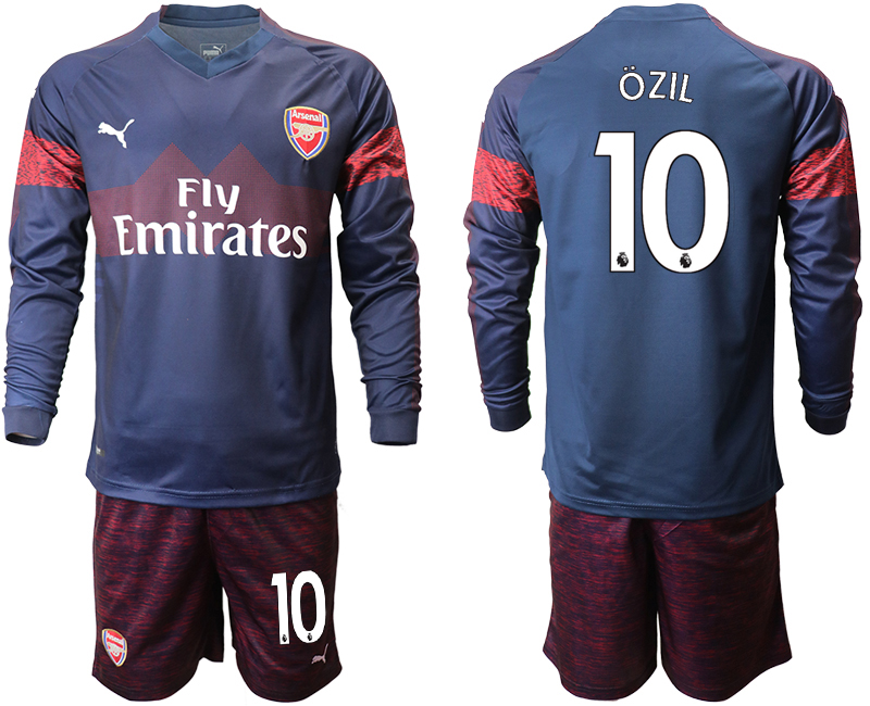 2018-19 Arsenal 10 OZIL Away Long Sleeve Soccer Jersey