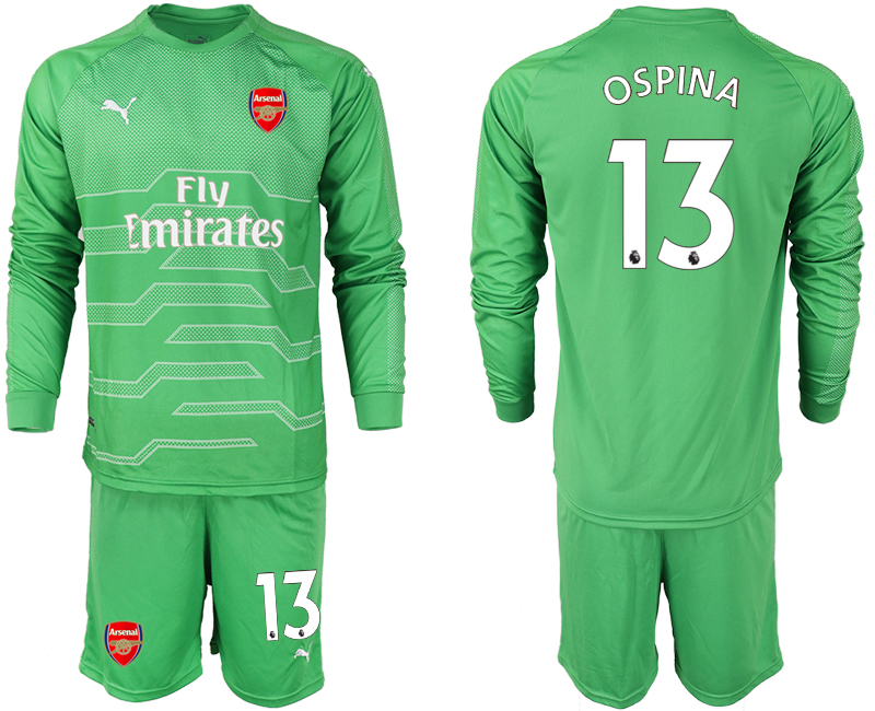 2018-19 Arsenal 13 OSPINA Green Long Sleeve Goalkeeper Soccer Jersey