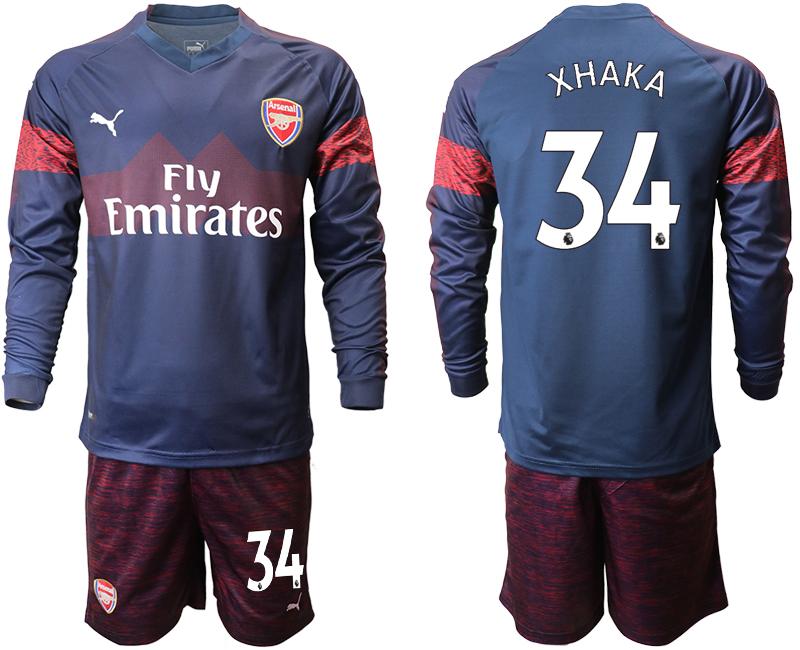 2018-19 Arsenal 34 XHAKA Away Long Sleeve Soccer Jersey