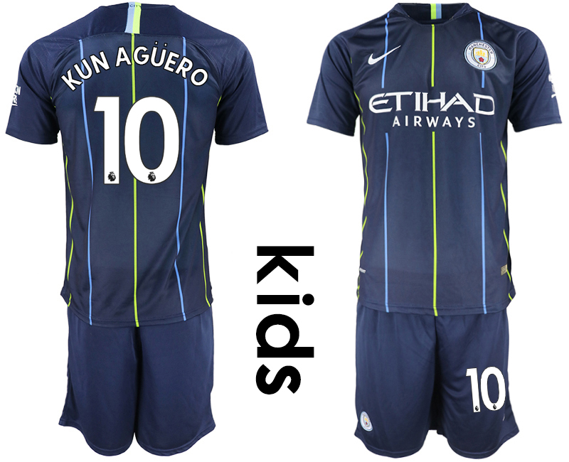 2018-19 Manchester City 10 KUN AGUERO Away Youth Soccer Jersey