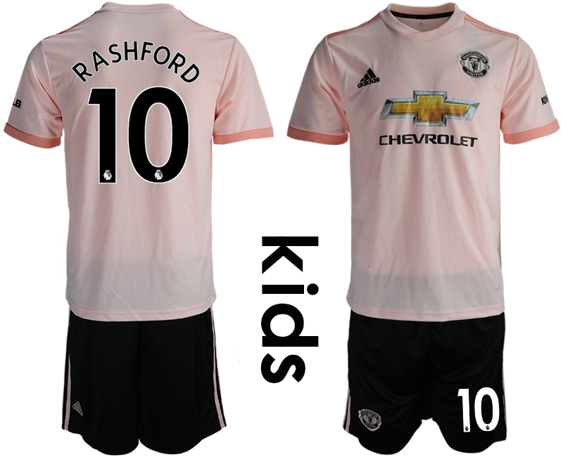 2018-19 Manchester United 10 RASHFORD Away Youth Soccer Jersey