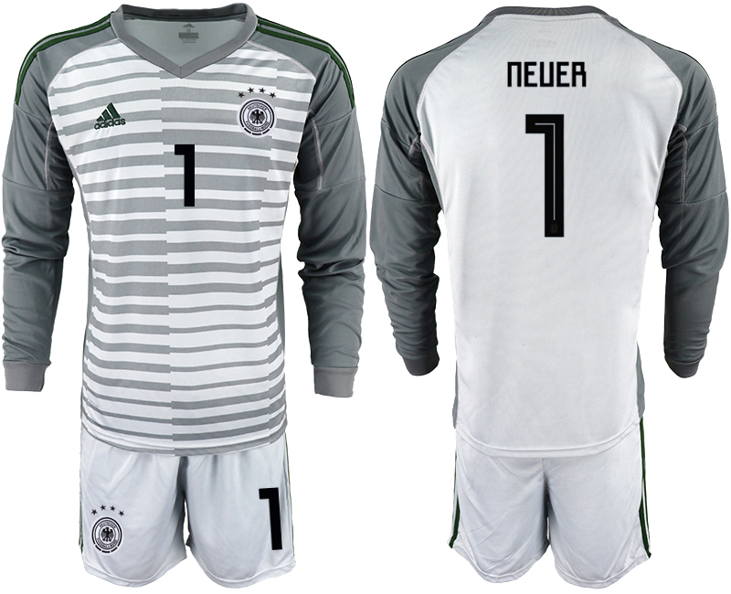 2018-19 Germany 1 NEUER Gray Long Sleeve Goalkeeper Soccer Jersey
