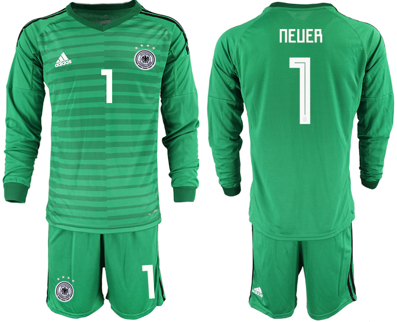 2018-19 Germany 1 NEUER Green Long Sleeve Goalkeeper Soccer Jersey