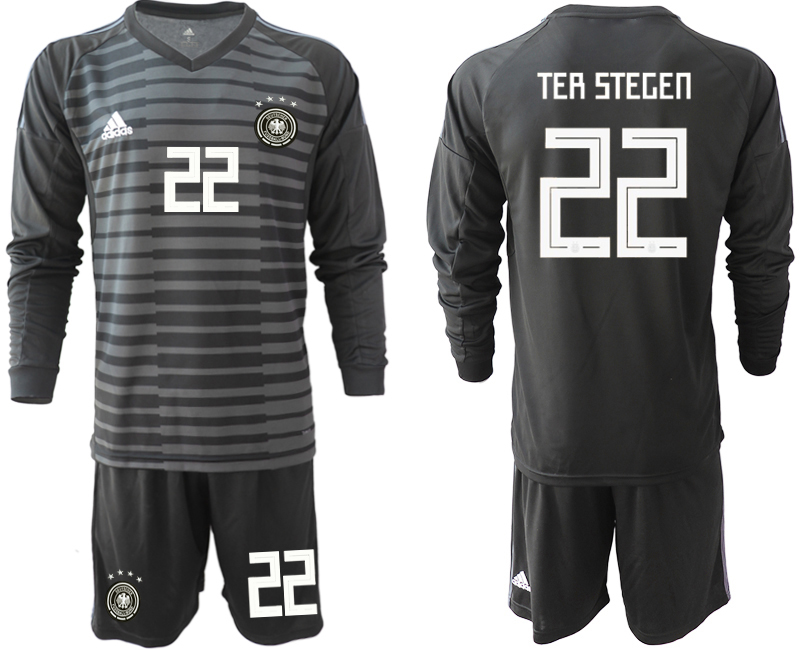 2018-19 Germany 22 TER STEGEN Black Long Sleeve Goalkeeper Soccer Jersey
