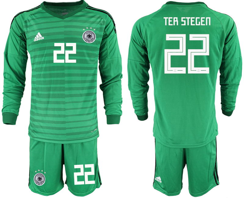 2018-19 Germany 22 TER STEGEN Green Long Sleeve Goalkeeper Soccer Jersey