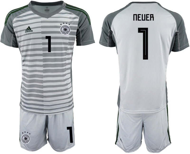2018-19 Germany 1 NEUER Gray Goalkeeper Soccer Jersey