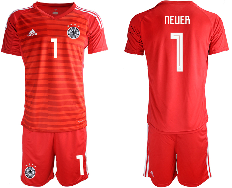 2018-19 Germany 1 NEUER Red Goalkeeper Soccer Jersey