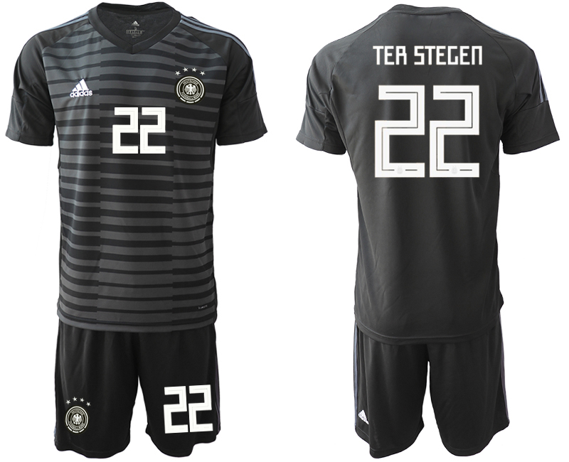2018-19 Germany 22 TER STEGEN Black Goalkeeper Soccer Jersey