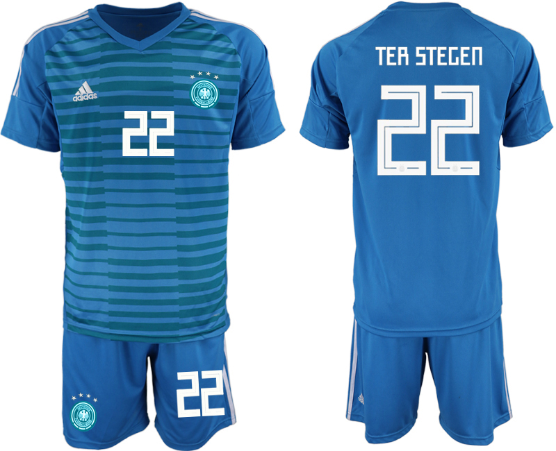 2018-19 Germany 22 TER STEGEN Blue Goalkeeper Soccer Jersey