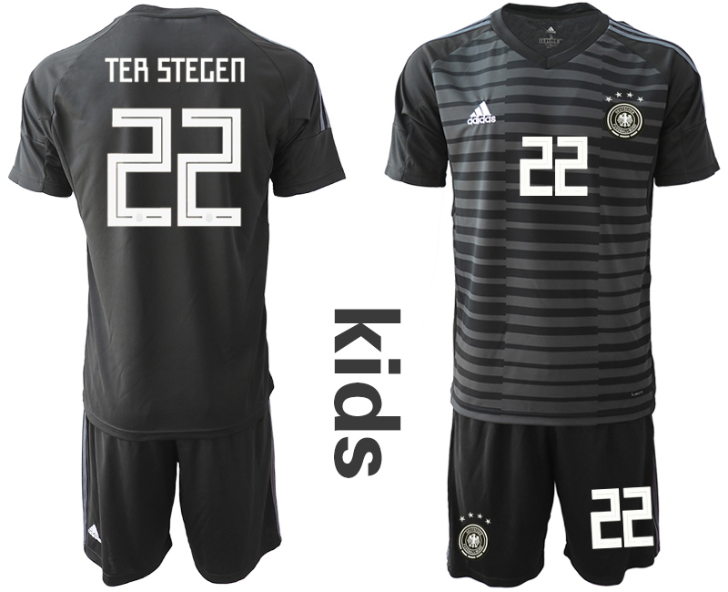 2018-19 Germany 22 TER STEGEN Black Youth Goalkeeper Soccer Jersey