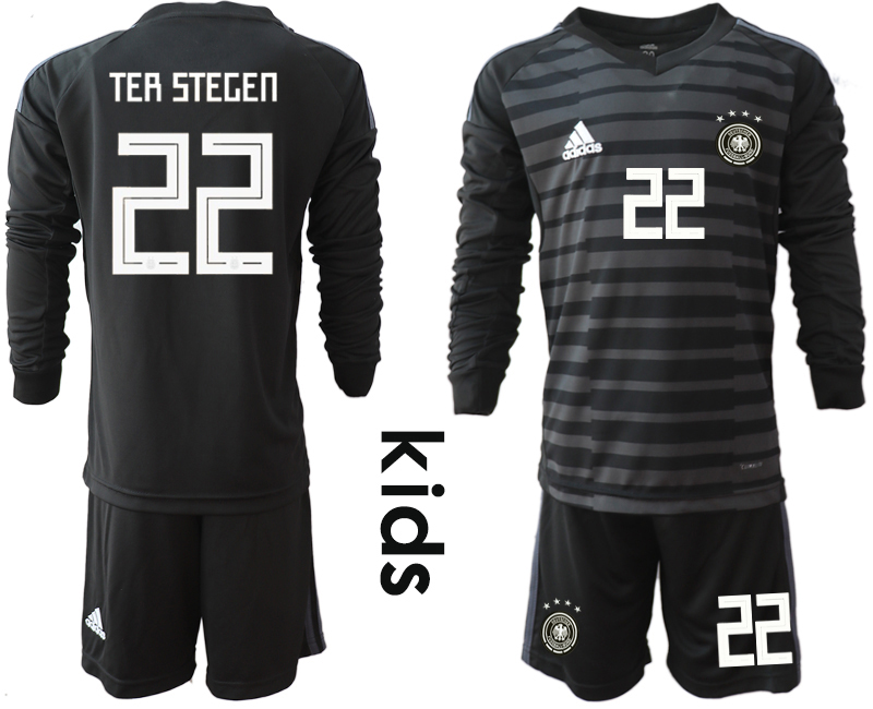 2018-19 Germany 22 TER STEGEN Black Youth Long Sleeve Goalkeeper Soccer Jersey