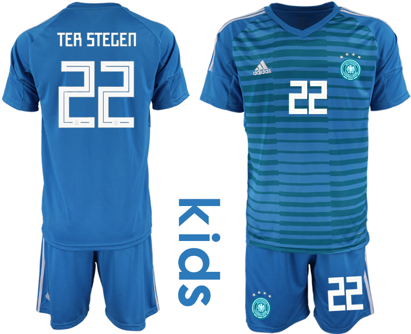 2018-19 Germany 22 TER STEGEN Blue Youth Goalkeeper Soccer Jersey