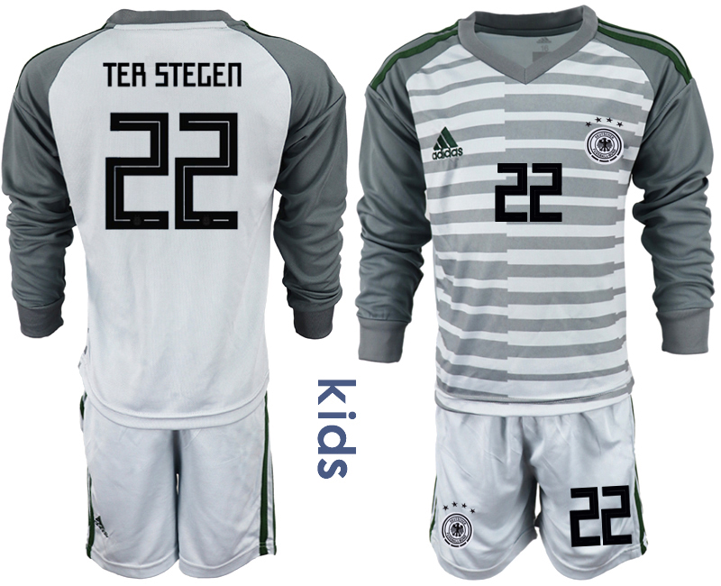 2018-19 Germany 22 TER STEGEN Gray Youth Long Sleeve Goalkeeper Soccer Jersey