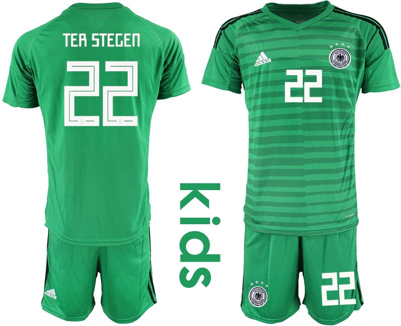 2018-19 Germany 22 TER STEGEN Green Youth Goalkeeper Soccer Jersey