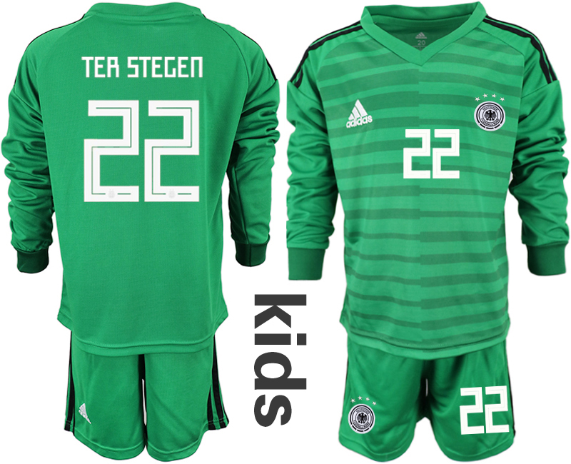 2018-19 Germany 22 TER STEGEN Green Youth Long Sleeve Goalkeeper Soccer Jersey
