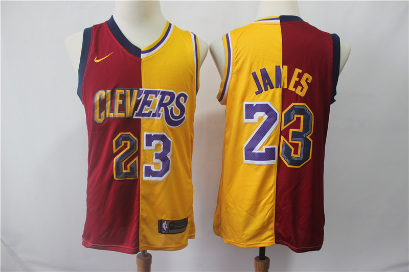 Lakers 23 Lebron James Red Gold Split Nike Swingman Jersey