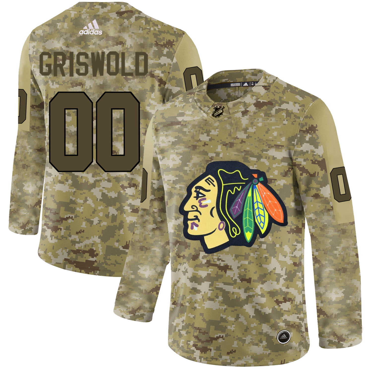 Chicago Blackhawks Camo Men's Customized Adidas Jersey