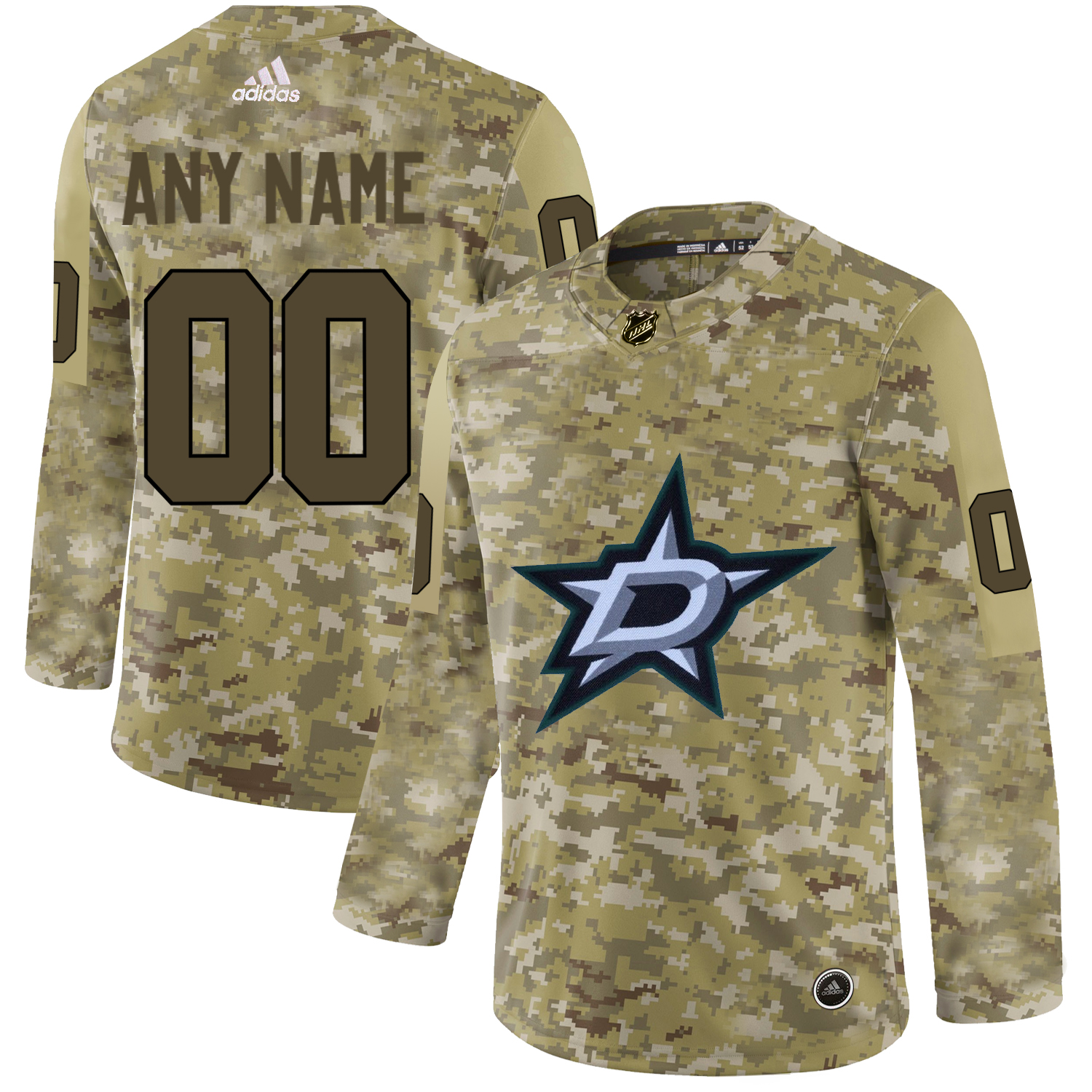 Dallas Stars Camo Men's Customized Adidas Jersey