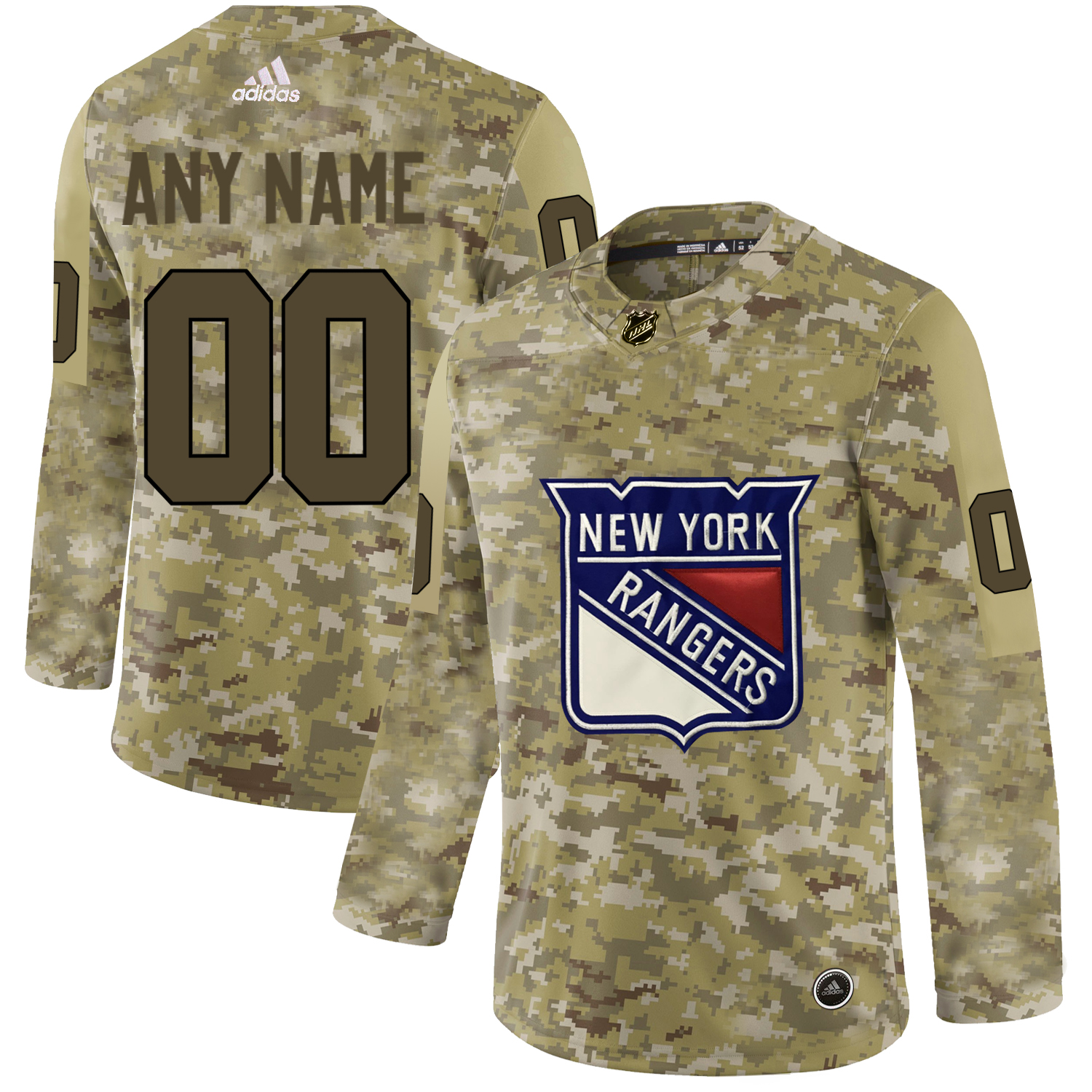 New York Rangers Camo Men's Customized Adidas Jersey