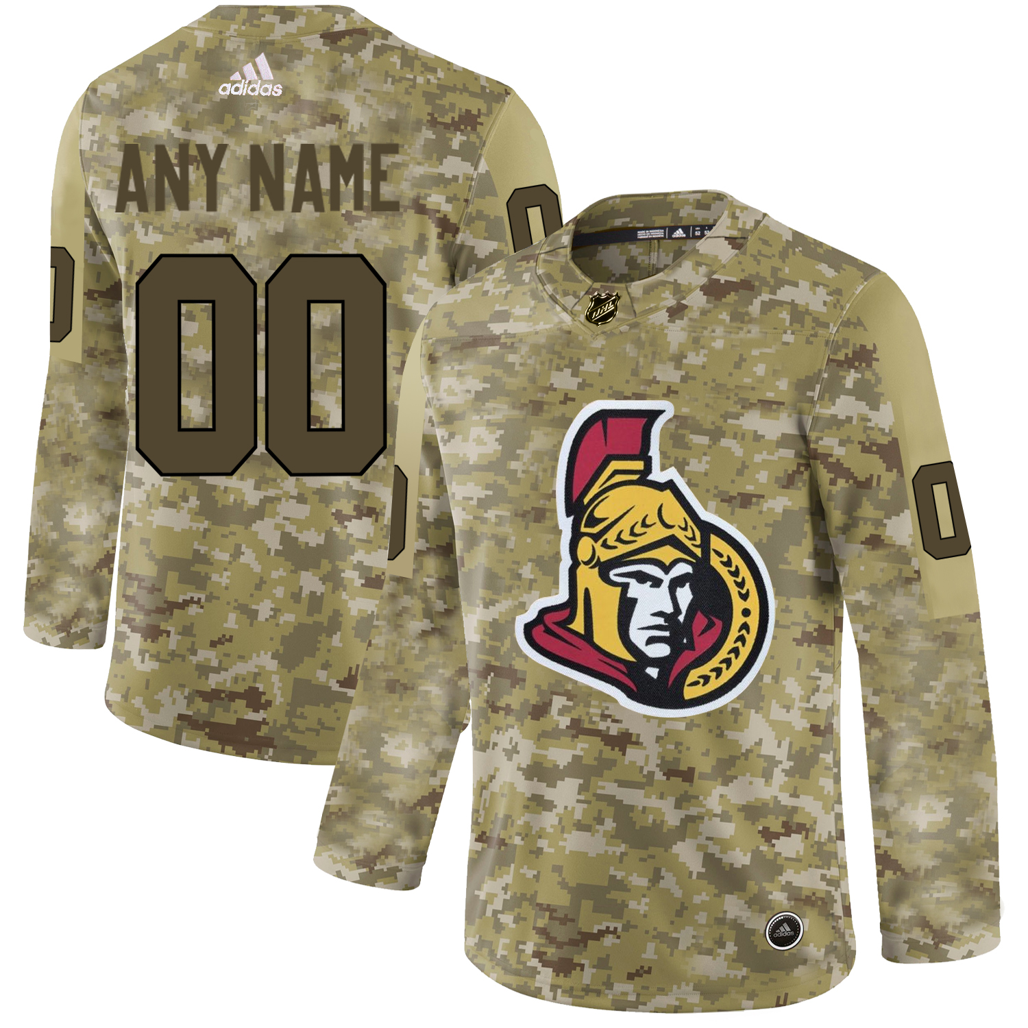 Ottawa Senators Camo Men's Customized Adidas Jersey