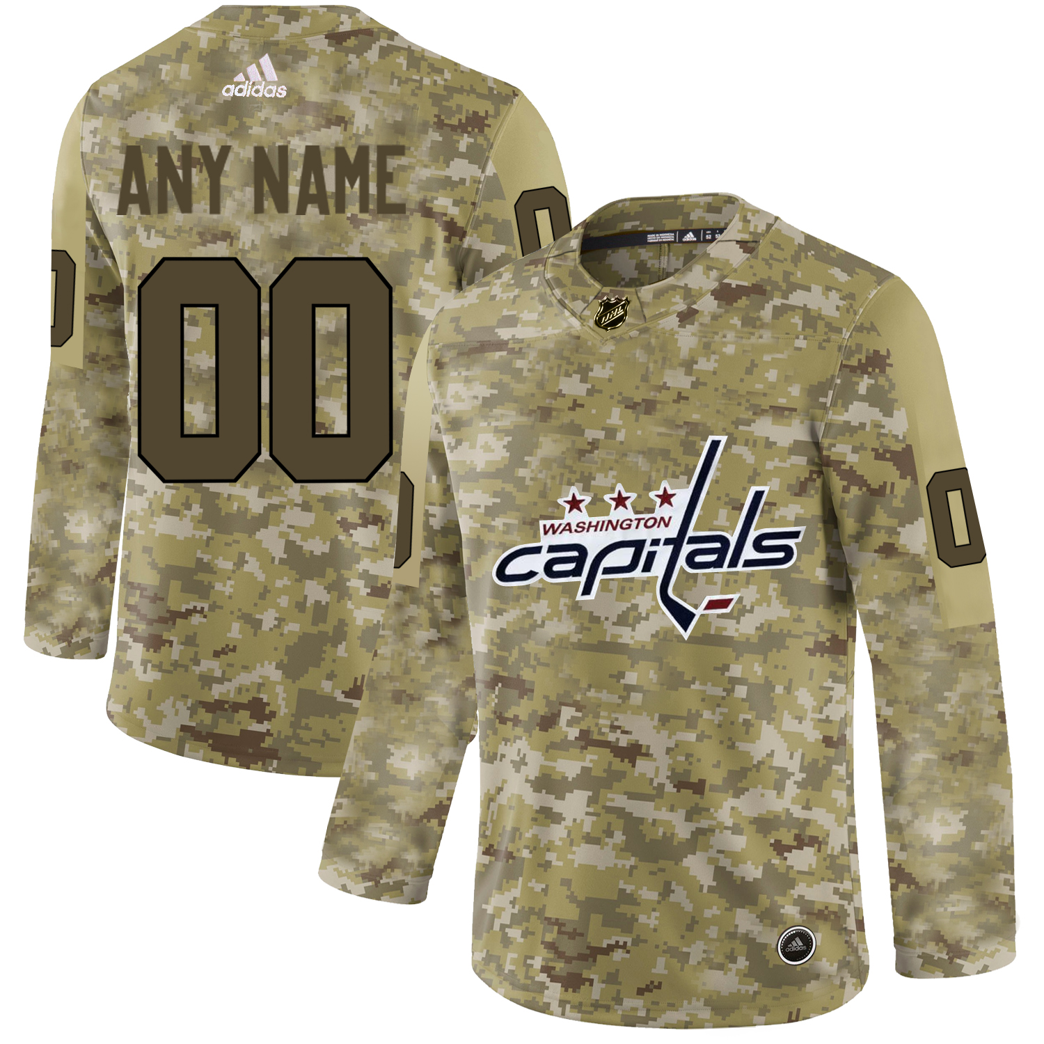 Washington Capitals Camo Men's Customized Adidas Jersey