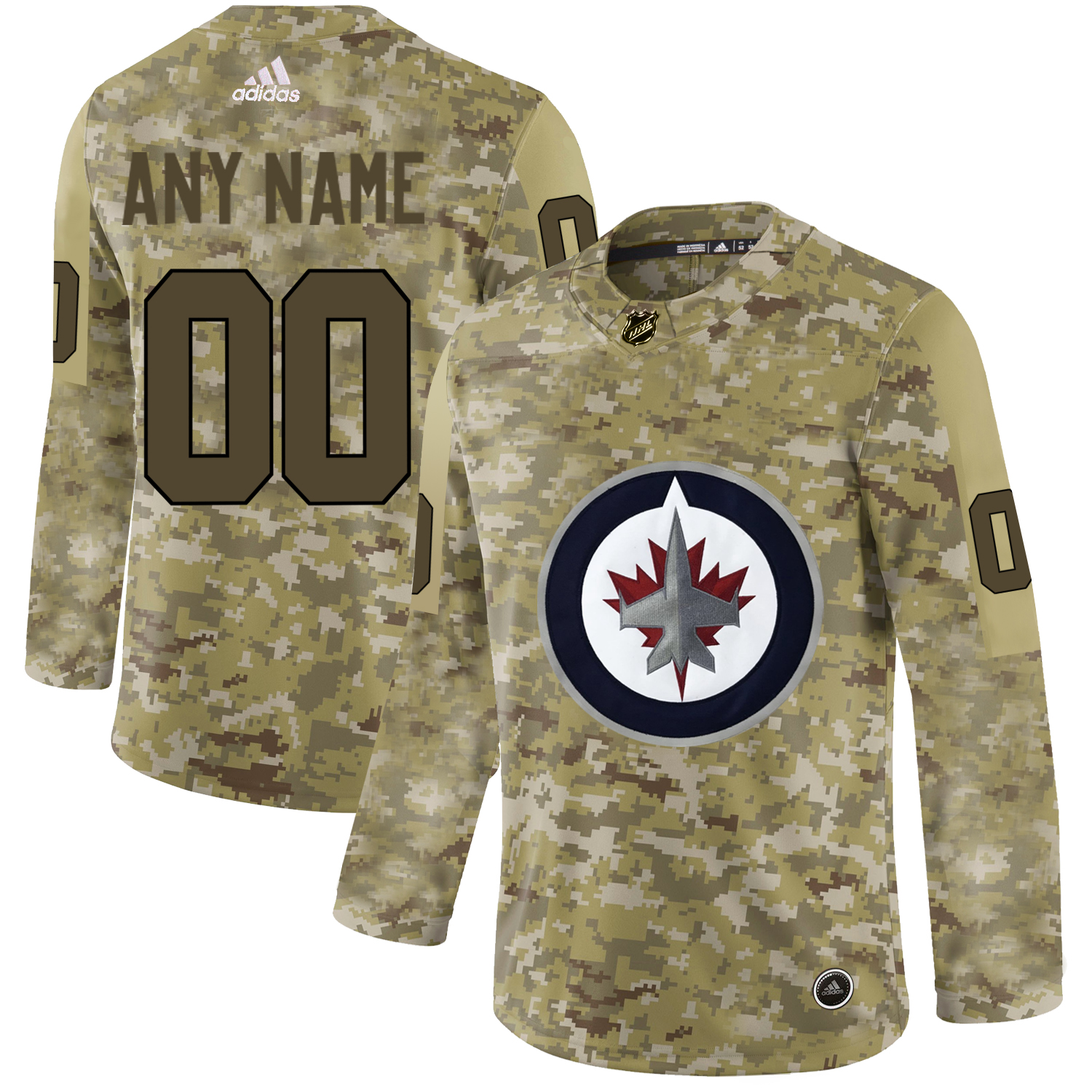 Winnipeg Jets Camo Men's Customized Adidas Jersey
