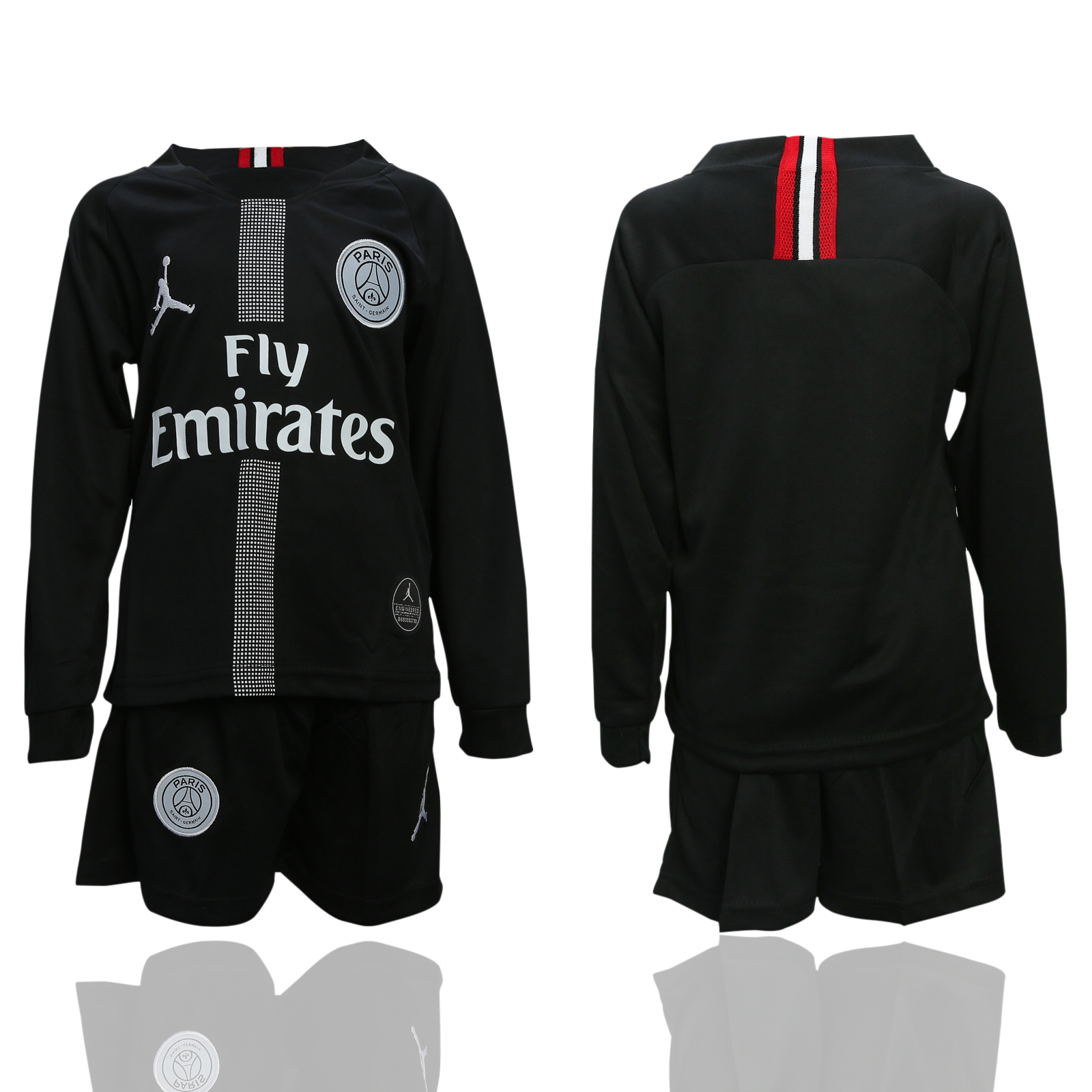 2018-19 Paris Saint-Germain Black Youth Long Sleeve UEFA Champions League Jordan Soccer Jersey