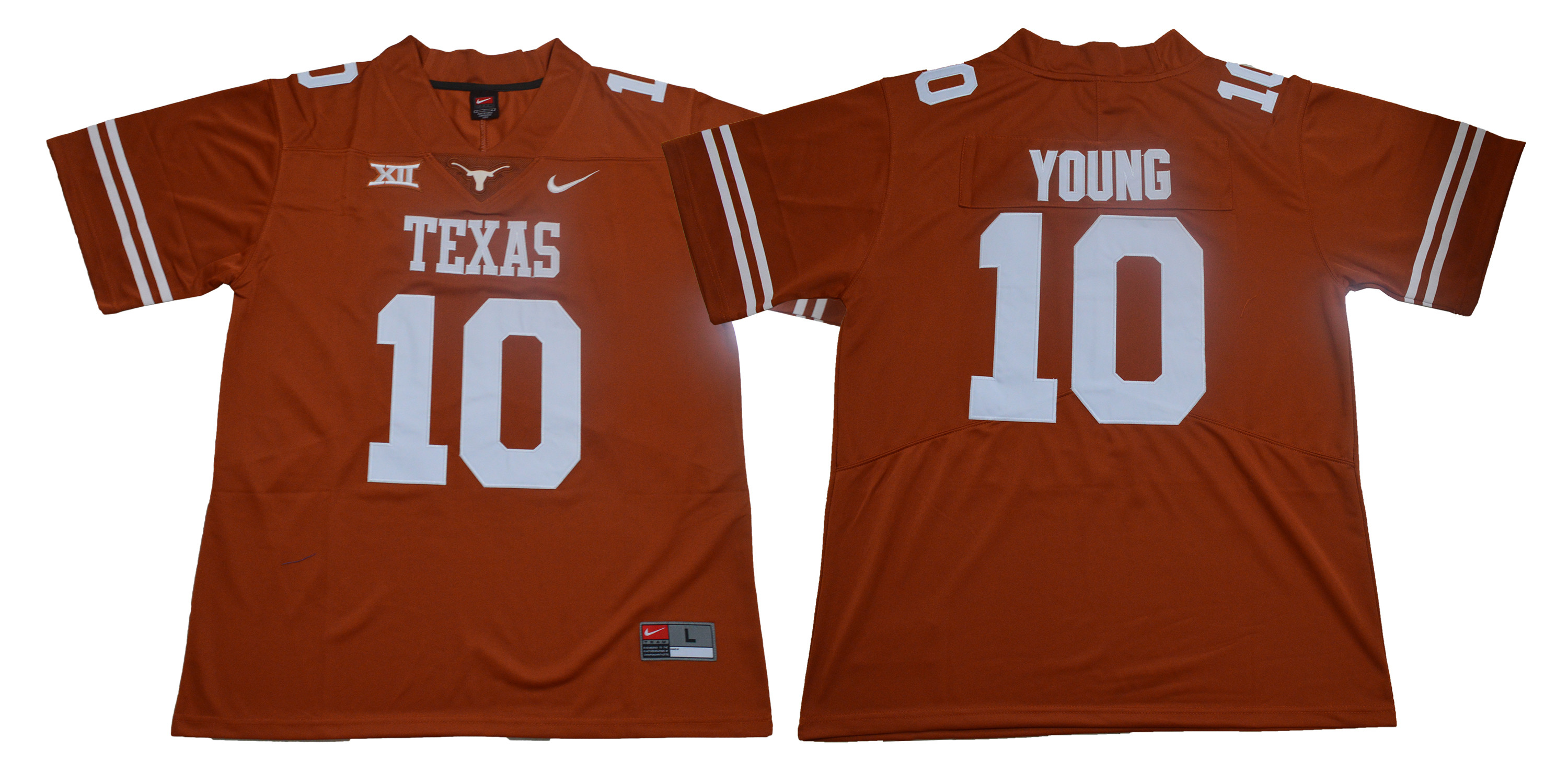 Texas Longhorns 10 Vince Young Brunt Orange Nike College Football Jersey