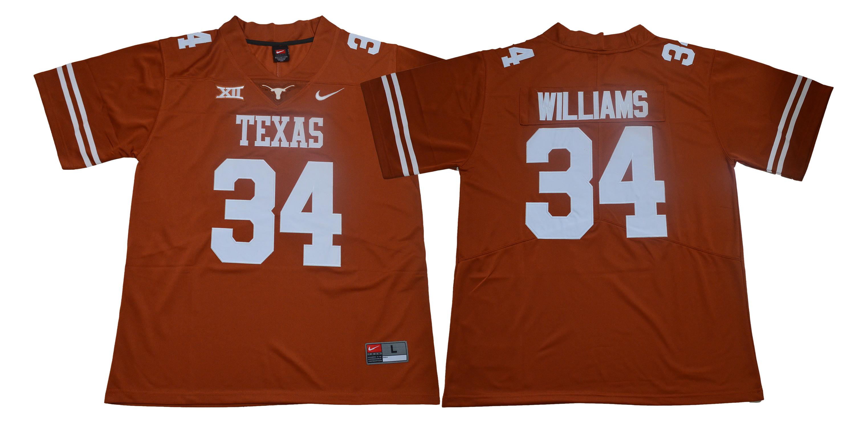 Texas Longhorns 34 Ricky Williams Orange Nike College Football Jersey