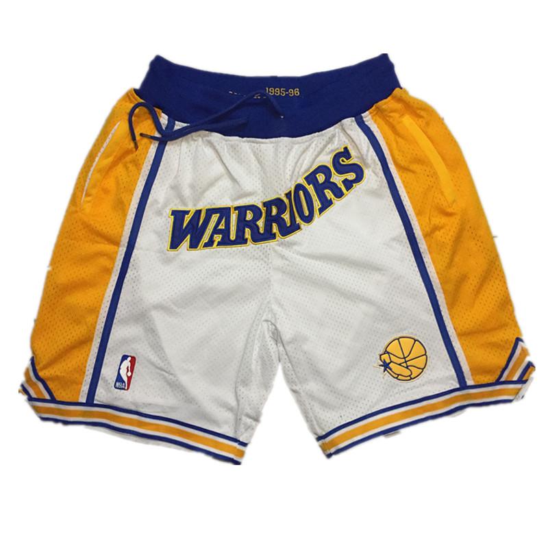Warriors White 1995-96 White Just Don Throwback Shorts