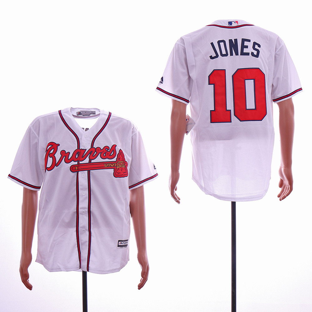Braves 10 Chipper Jones White Cool Base Jersey