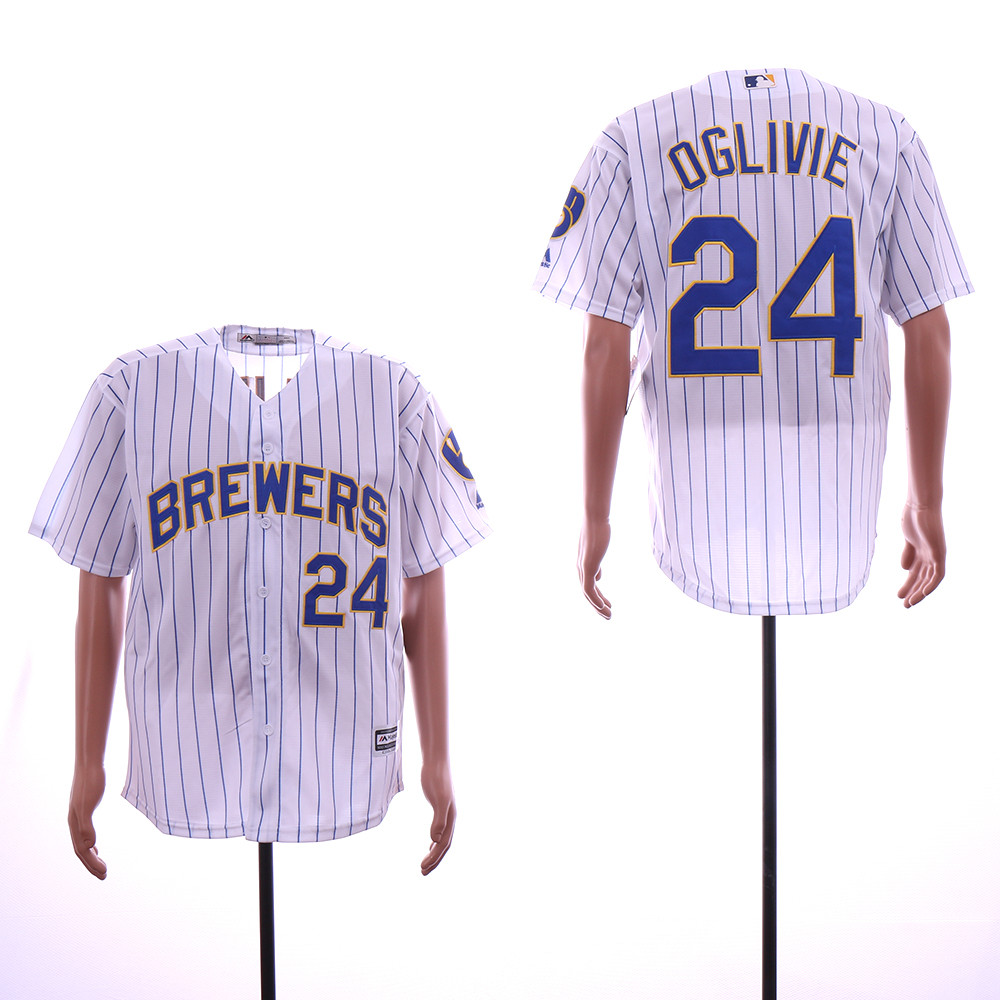 Brewers 24 Ben Oglivie White Cool Base Jersey