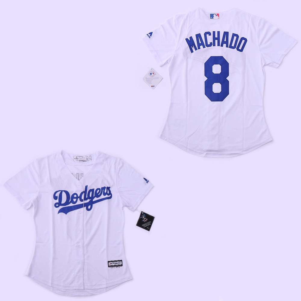 Dodgers 8 Manny Machado White Women Cool Base Jersey