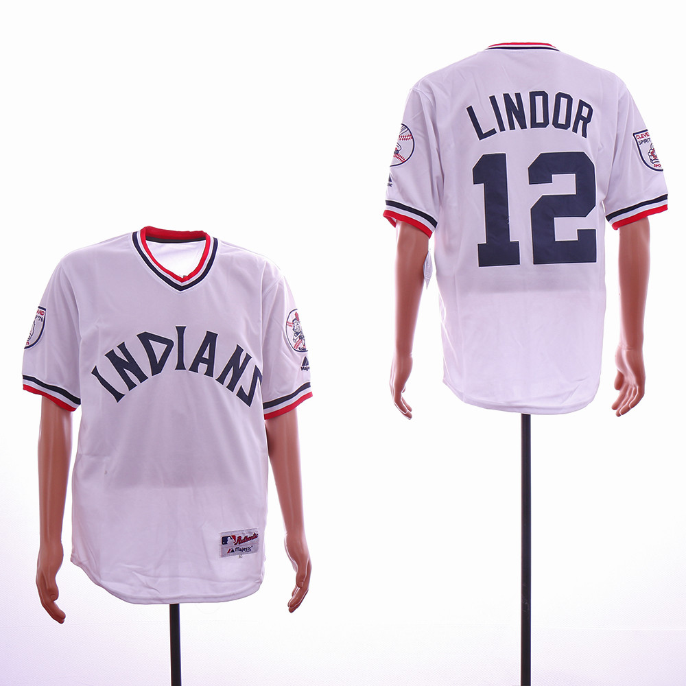 Indians 12 Francisco Lindor White Throwback Jersey