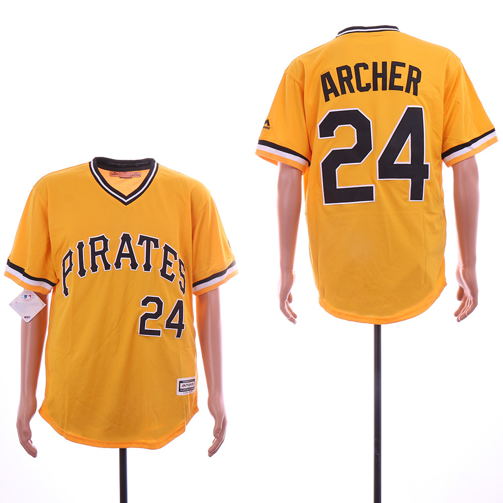 Pirates 24 Chris Archer Gold Cool Base Jersey