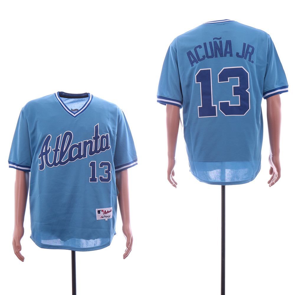 Braves 13 Ronald Acuna Jr. Light Blue Throwback Jersey