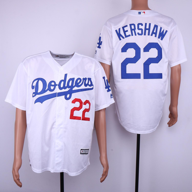Dodgers 22 Clayton Kershaw White Cool Base Jersey