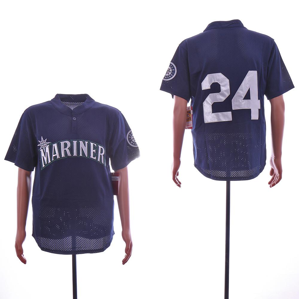 Mariners 24 Ken Griffey Jr. Navy Mesh Throwback Jersey