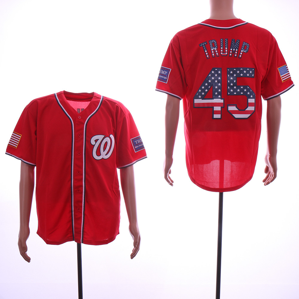 Nationals 45 Donald Trump Red USA Flag Jersey