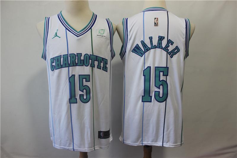 Hornets 15 Kemba Walker White Hardwood Classics Nike Swingman Jersey