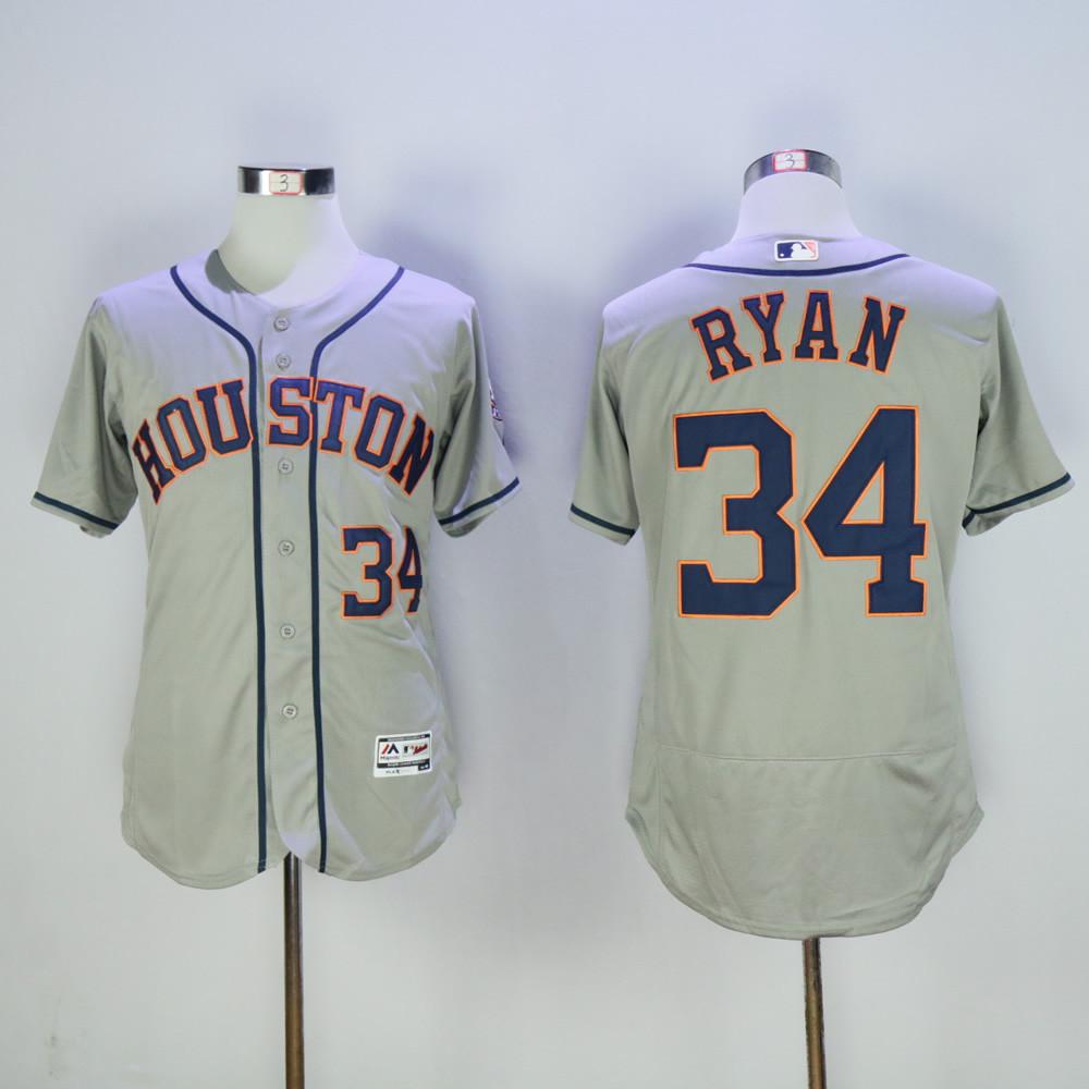 Astros 34 Nolan Ryan Gray Flexbase Jersey